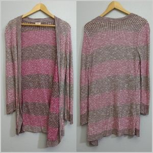 Mossimo Juniors XL Pink Striped Open Cardigan
